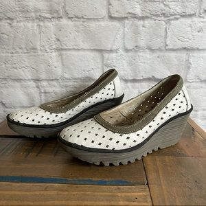 FLY LONDON White Wedge Shoes Wedges